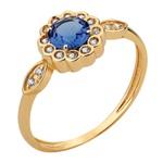 Anel Flor Zircônia Azul com Contorno e Laterais Zircônia