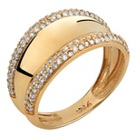 Anel Largo - Diamantes - Ouro 18k