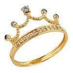 Anel Coroa Princess - com Brilhantes Ouro 18k 750
