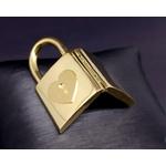 Relicário em Ouro 18k 750 Cadeado com Coração e Chave