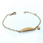 Pulseira em Ouro 18k Plaquinha Com Berloque de Coração Vazado