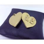 Relicário em Ouro 18k Coração Gravação de Duas Letras com Diamantes