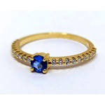 Anel Ouro Amarelo Diamantes e Topázio London
