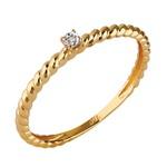Solitário em Ouro Amarelo 18k Fino Torcido com Diamantes