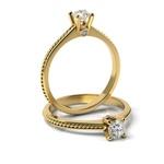 Solitário em Ouro 18k Trabalhado nas Laterais com Diamante de 15 Pontos