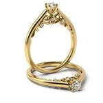 Solitário em Ouro 18k Trabalhado com Diamantes