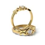 Solitário em Ouro 18k Borboletas com Diamante
