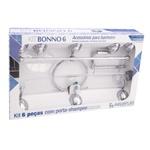 Kit de acessórios p/ Banheiro Bonno 6 peças Cromado Crystal - Aquaplás