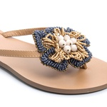 Rasteira Flor Azul Jeans