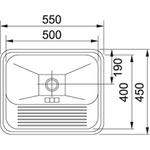 Tanque Monobloco Alto Brilho Aço Inox 55x45 cm - 10948