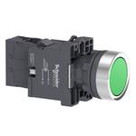 Botão 22mm Plástico Iluminado LED 220 VCA 1NA Verde XA2EW33M1 Schneider