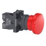 Botão 22mm Plástico Soco a Impulsão D40mm 1NF Vermelho XA2EA42 Schneider