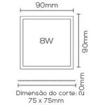 Painel / Plafon de LED Embutir Mini Borda 9x9cm Quadrado 8W Branco Frio