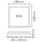 Painel / Plafon de LED Embutir Mini Borda 15x15cm Quadrado 15W Branco Quente