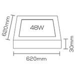 Painel / Plafon de LED Sobrepor 62x62cm Quadrado 48W Branco Quente
