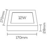 Painel / Plafon de Led Slim Quadrado de Sobrepor 12W Bivolt 17cm Branco Evoled