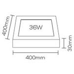 Painel / Plafon de Led Slim Quadrado de Sobrepor 36W Bivolt 40cm Marrom Evoled