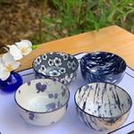 Conjunto de Bowls de Porcelana 4 Peças Azul e Branco