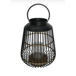 Lanterna Decorativa Metal com detalhe em Bambu