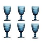 Jogo de 6 Taças de Vidro Azul Bico De Jaca