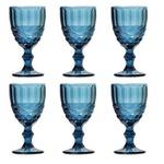 Jogo de 6 Taças de Água Vidro Azul Marinho
