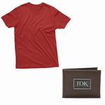 kit camiseta bordo e carteira masculina jdk café