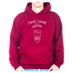 Moletom Unissex First I Need Coffee - Bordo