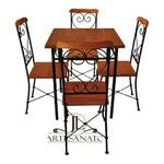 Jogo De Mesa 4 Cadeiras Ferro E Madeira 70x70