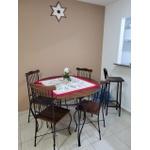 Jogo Bistrô Madeira e Ferro 1 Mesa (100cm) 4 Cadeiras de Jantar