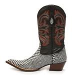 Bota Texana Bico Fino Country Masculina Anaconda Preto e Branco e Mustang Preto