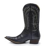 Bota Texana Bico Fino Country Masculina Anaconda Preto e Mustang Preto