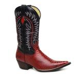 Bota Texana Bico Fino Country Masculina Anaconda Verniz Vermelho e Mustang Preto