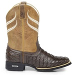 Bota Country Texana Masculina Wafer Bico Quadrado Floater Café e Fóssil Mostarda