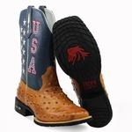 Bota Texana Masculina Bico Quadrado Couro Avestruz Réplica Caramelo