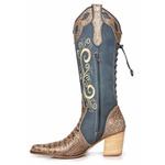 Bota Country Feminina Bico Fino Couro Jeans e Dubai Nozes