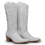 Bota Country Texana Feminina Bico Fino Couro Napa Branco