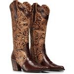 Bota Texana Feminina Bico Fino Couro Anaconda Nescau e Cano Floral