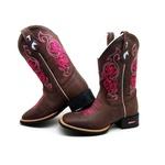 Bota Country Texana Feminina Bico Quadrado Café Sola Borracha