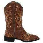 Bota Country Texana Feminina Bico Quadrado Couro Fóssil Whisky
