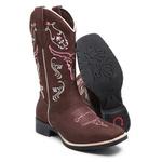 Bota Country Texana Feminina Bico Quadrado Couro Nobuck Chocolate