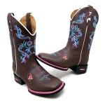 Bota Country Texana Feminina Bico Quadrado Tribal Floral Couro Café
