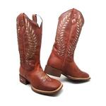 Bota Texana Feminina Bico Quadrado Couro Solado Borracha