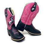 Bota Texana Feminina Cano Alto Bico Quadrado Couro Preto e Rosa