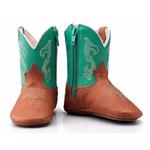 Bota Texana Baby Couro Legítimo Pinhão e Verde
