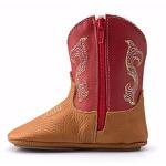 Bota Texana Baby Couro Legítimo Pinhão e Vermelho