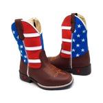 Bota Texana Infantil Bico Quadrado Bandeira Americana Couro Café