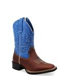 Bota Texana Infantil Bico Quadrado Couro Sela e Azul