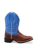 Bota Texana Infantil Bico Quadrado Couro Sela e Azul Promoção