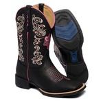 Bota Texana Feminina Bico Quadrado Cano Alto Couro Floater Preto