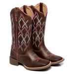 Bota Texana Feminina Bico Quadrado Country Couro Dallas Terra Rosa